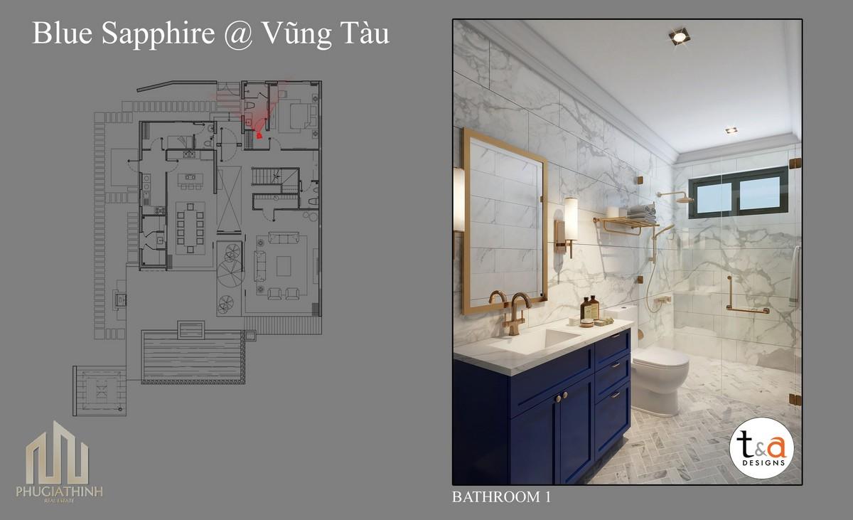 Thiết kế phòng tắm Villa Blue Saphhire - dự án Aria