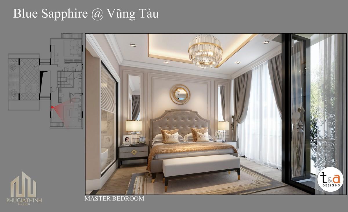 Thiết kế phòng ngủ Master Villa Blue Saphhire - dự án Aria