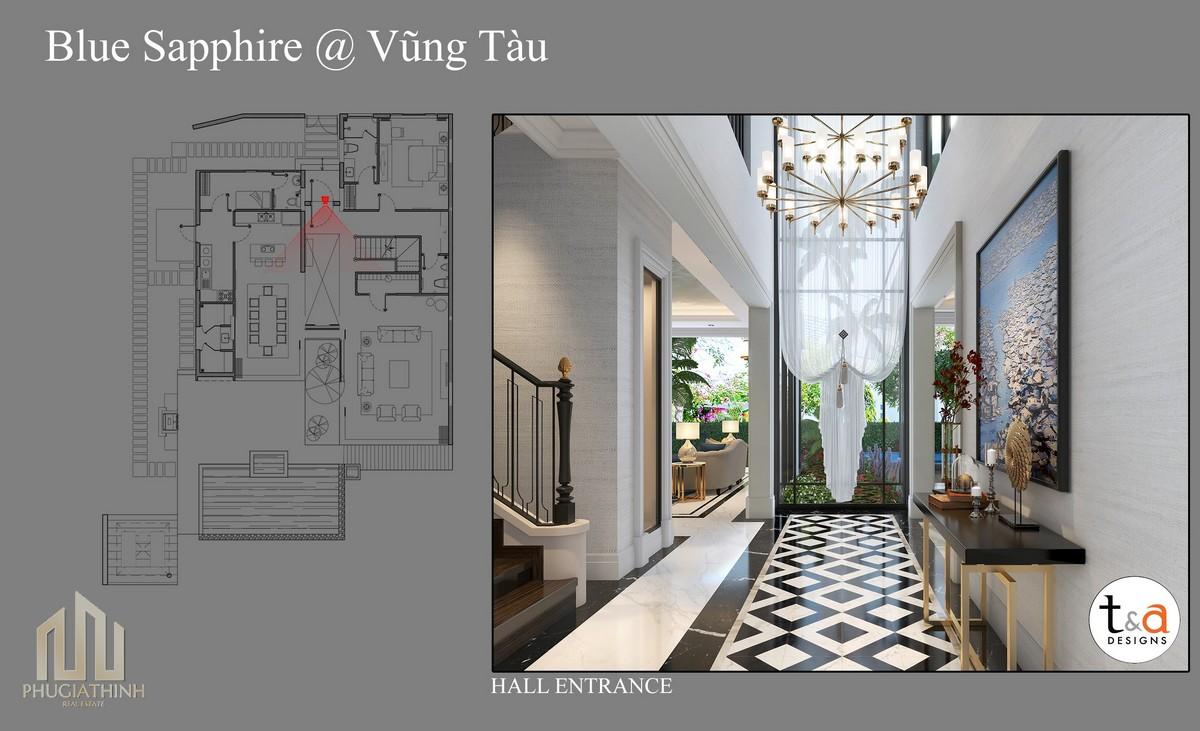 Thiết kế lối vào Villa Blue Saphhire - dự án Aria