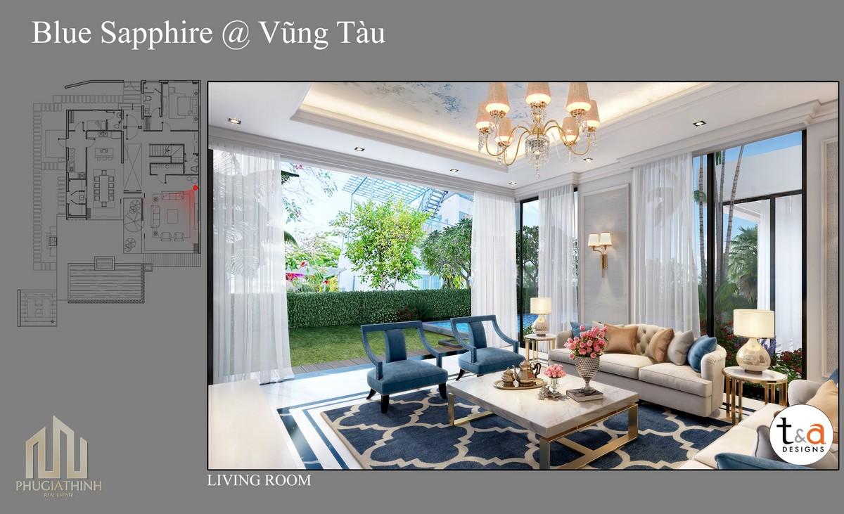 Thiết kế phòng khách Villa Blue Saphhire - dự án Aria