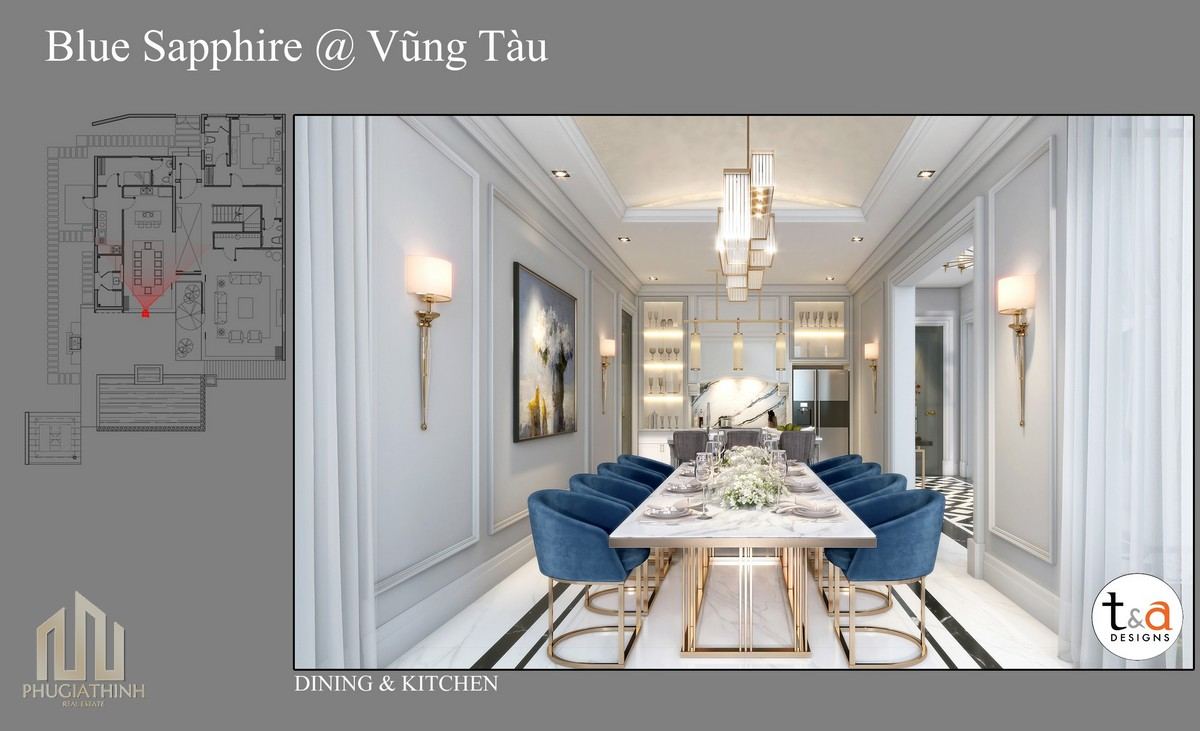 Thiết kế phòng ăn Villa Blue Saphhire - dự án Aria