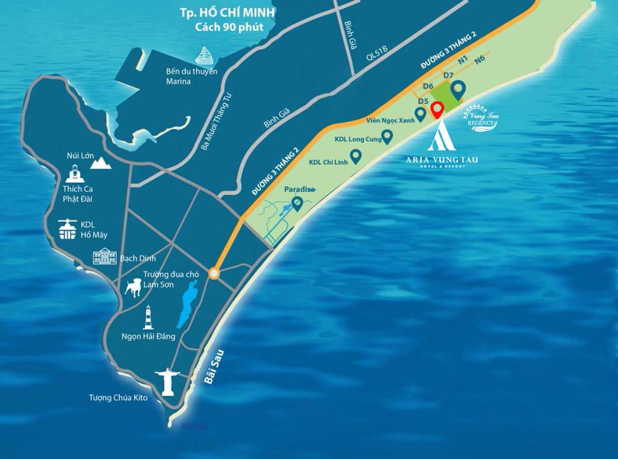 Vị trí dự án biệt thự biển Aria Vũng Tàu
