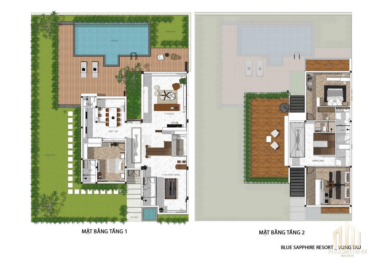 Villa Blue Saphhire - dự án Aria Hotel & Resort
