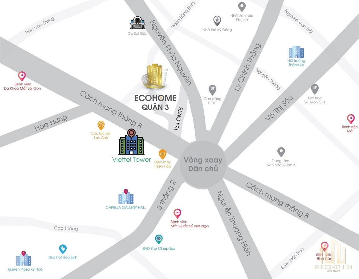 Vị trí dự án khu căn hộ studio Ecohome Q3 CMT8