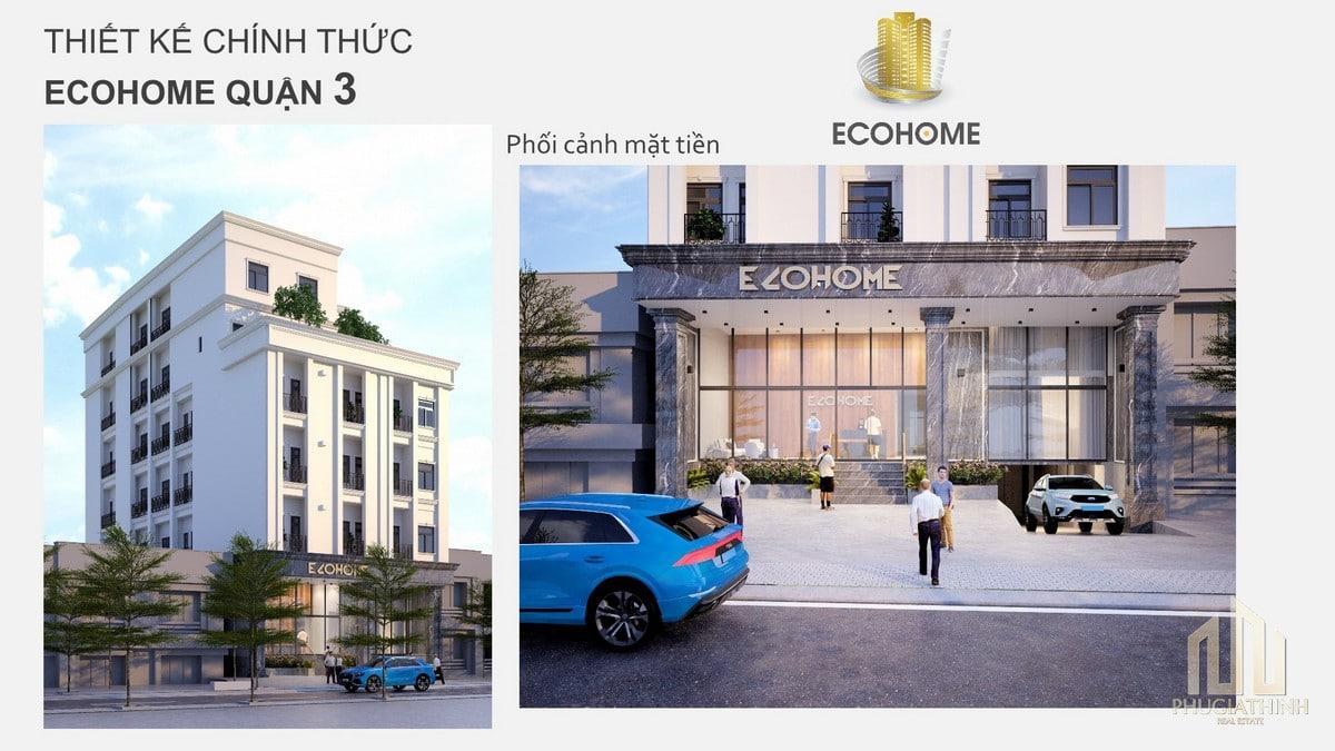 Phối cảnh mặt tiền căn hộ studio Ecohome Q3 CMT8